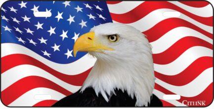 American Flag with American Eagle Car Tag-0