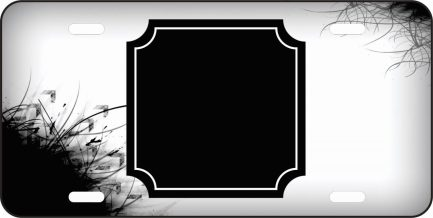 Black and White Monogram Car Tag Front Car Tag-0