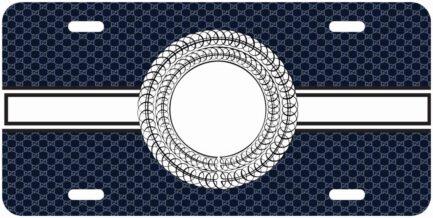 Blue and White Monogram Car Tag-0