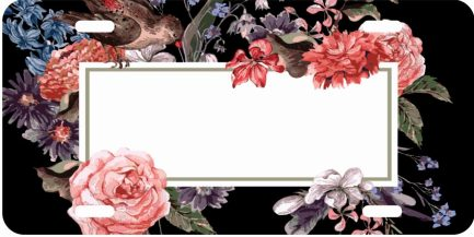 Flower Tag With Bird Monogram Car Tag -0