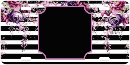 Flower Tag with Black Background Car Tag-0
