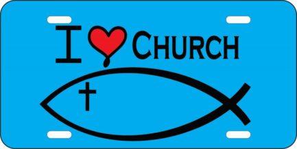 I Love Church Car Tag-0