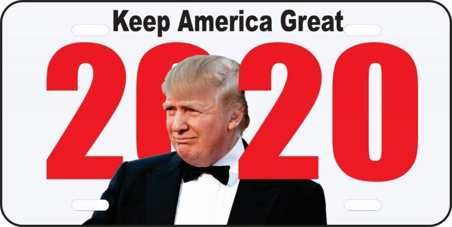 Trump 2020 Car Tag (White)-0