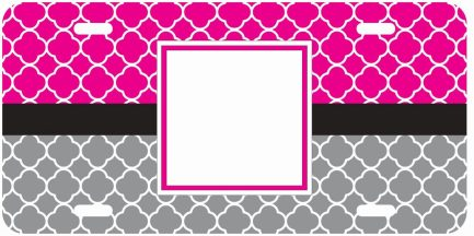 Victoria Inspired Pink and Gray Monogram Car Tag-0