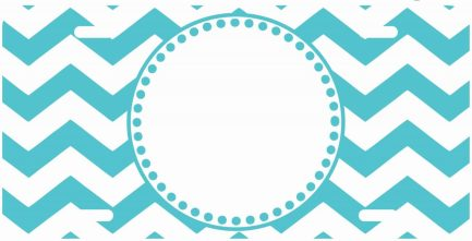 White And Blue Chevron Monogram Car Tag-0