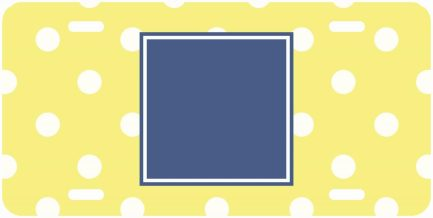 White and Yellow Polka Dot Monogram Car Tag Front Car Tag-0