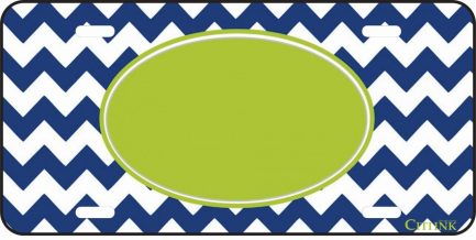 Green and Blue Chevron Monogram Car Tag-0