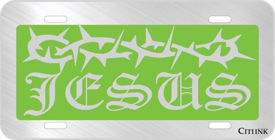 Jesus Green Car Tag-0