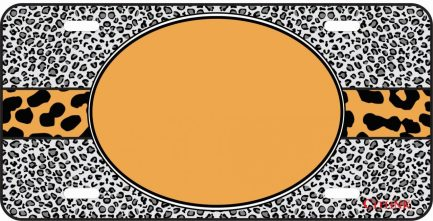 Orange Cheetah Monogram Car Tag-0