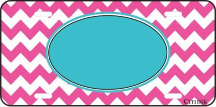 Pink and Blue Chevron Monogram Car Tag-0