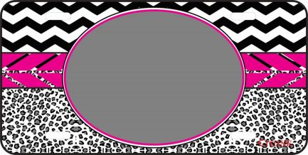 Pink Cheetah Monogram Car Tag-0
