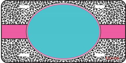 Pink and Teal Cheetah Monogram Tag-0