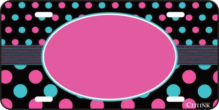 Polka Dot Monogram Car Tag Black, Pink and Blue-0