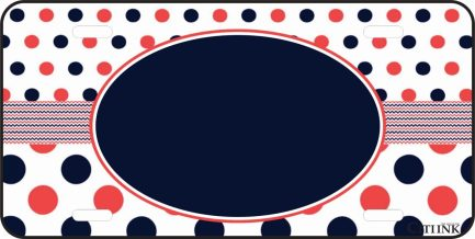 Polka Dot Monogram Car Tag Orange and Blue-0