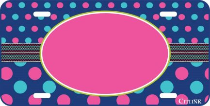 Polka Dot Monogram Car Tag Pink and Blue-0