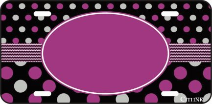 Polka Dot Monogram Car Tag Purple and Gray -0