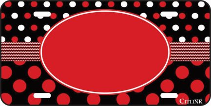 Polka Dot Monogram Car Tag Red and Gray-0