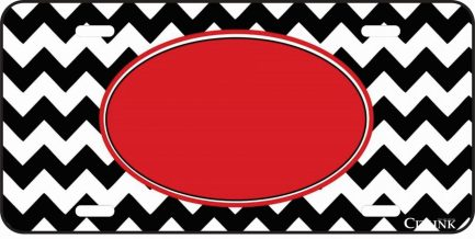 Red and Black Chevron Monogram Car Tag-0