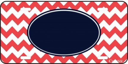Salmon and Blue Chevron Monogram Car Tag-0
