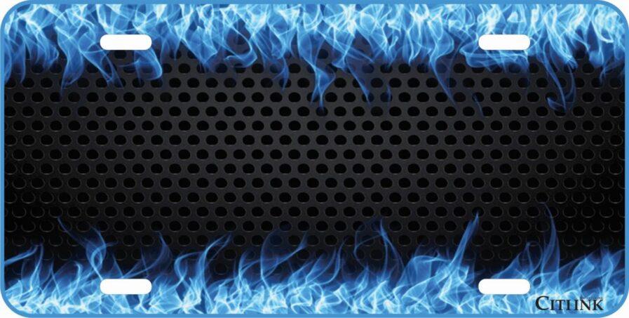 Blue Fire, Flames Custom Car Tag-0