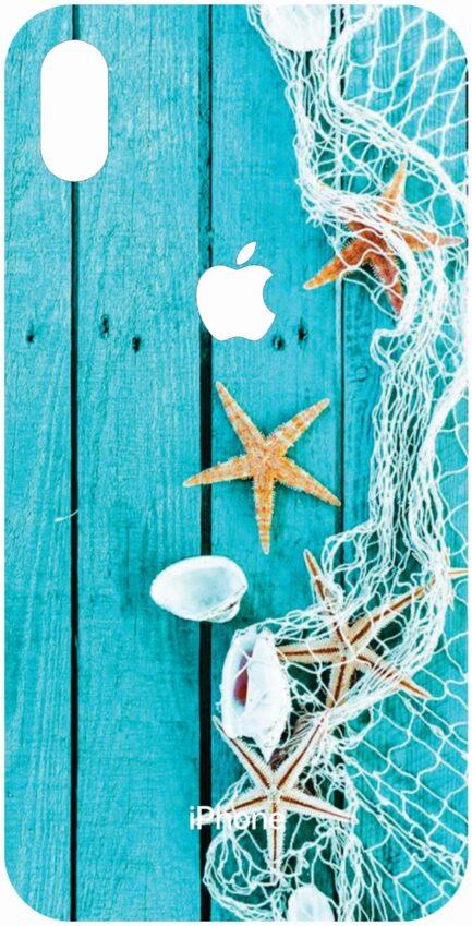 iPhone Xs Max Aqua Blue Wood Grain Design-0