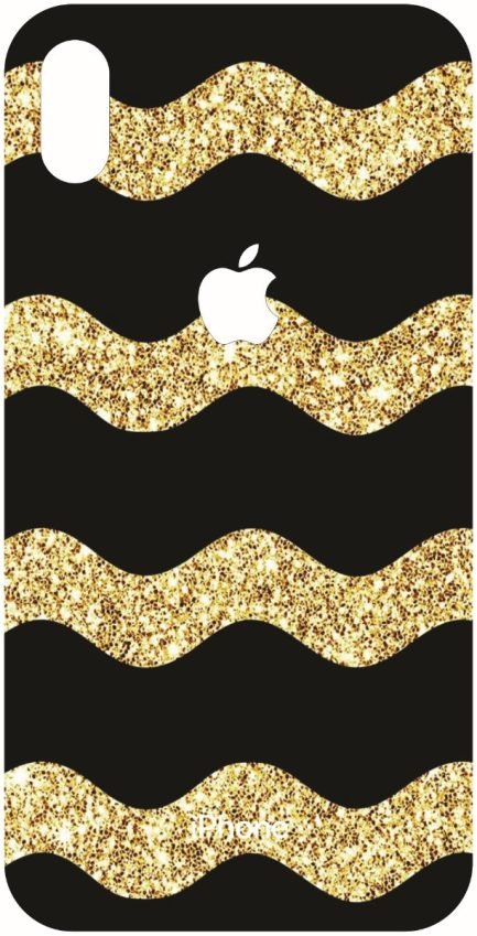 iPhone Xs Max Wavy Black and Gold Glitter Chevron Design-0