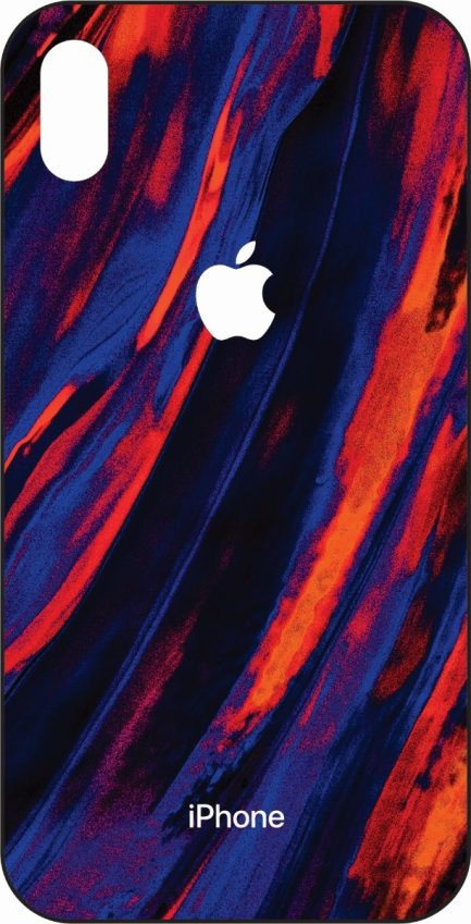 iPhone Xs Max Blue and Orange Marble Design-0