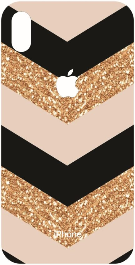 iPhone Xs Max Rose Gold, Glitter Gold and Black Chevron Design-0