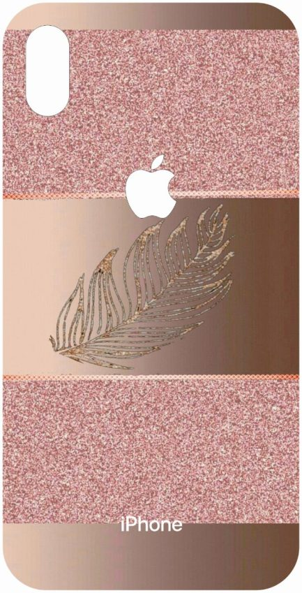 iPhone Xs Max Rose Gold Design with a Leaf-0