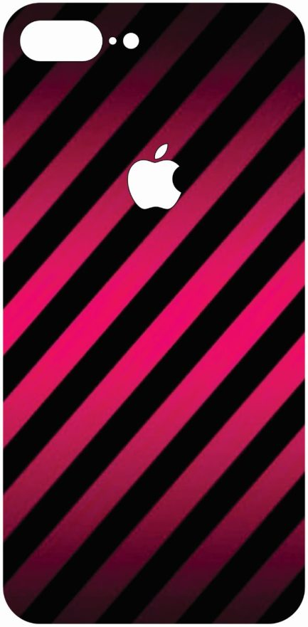 iPhone 8 Plus Pink and Black Stiped Skin-0