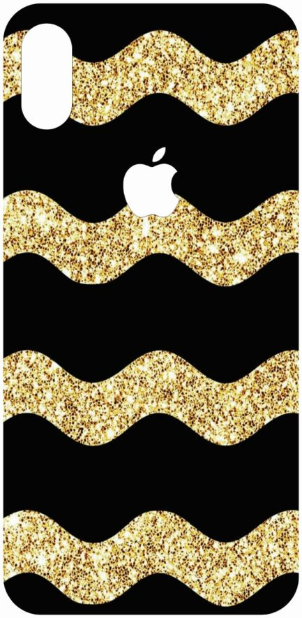 iPhone X Black and Gold Glitter Stripes Skin-0