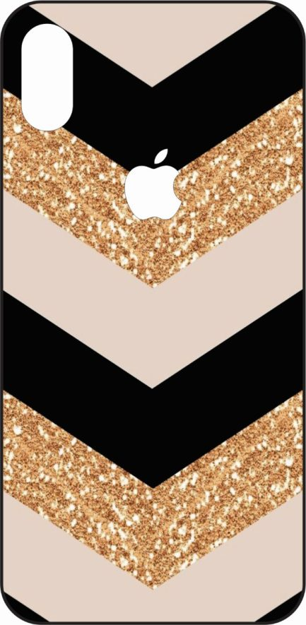 iPhone X Black, Rose Gold, and Gold Glitter Chevron -0