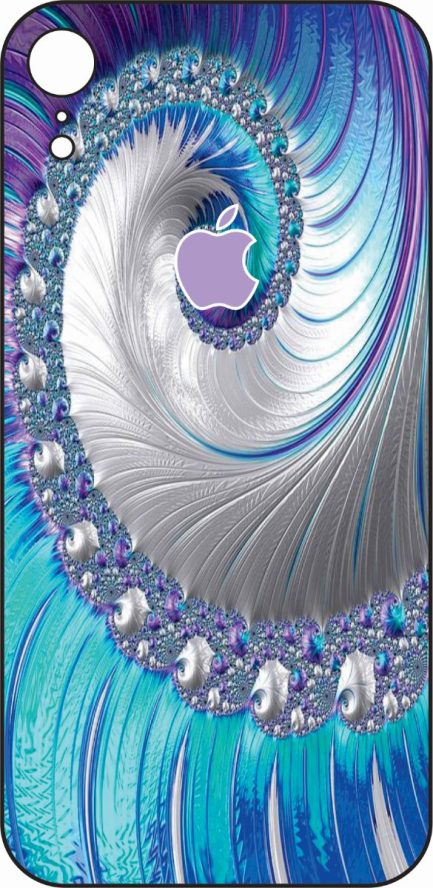 iPhone XR Blue and Purple Coral Design-0