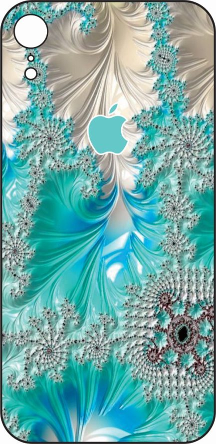 iPhone XR Blue and White Coral Design-0