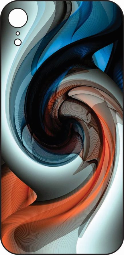 iPhone XR BLue, Orange and White Spiral Design-0
