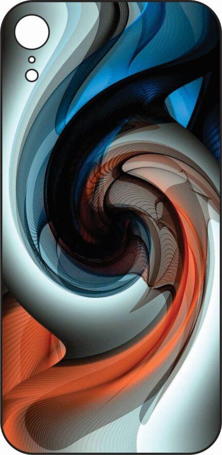 iPhone XR BLue, Orange and White Spiral Design-0