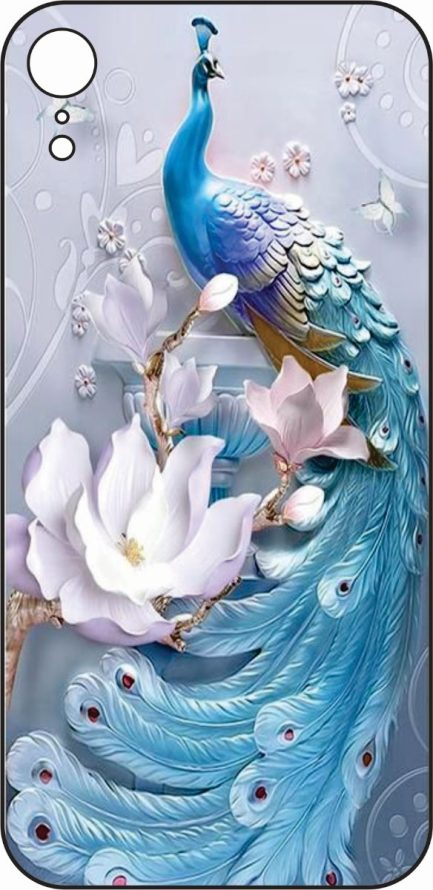 iPhone XR Blue Peacock Design-0