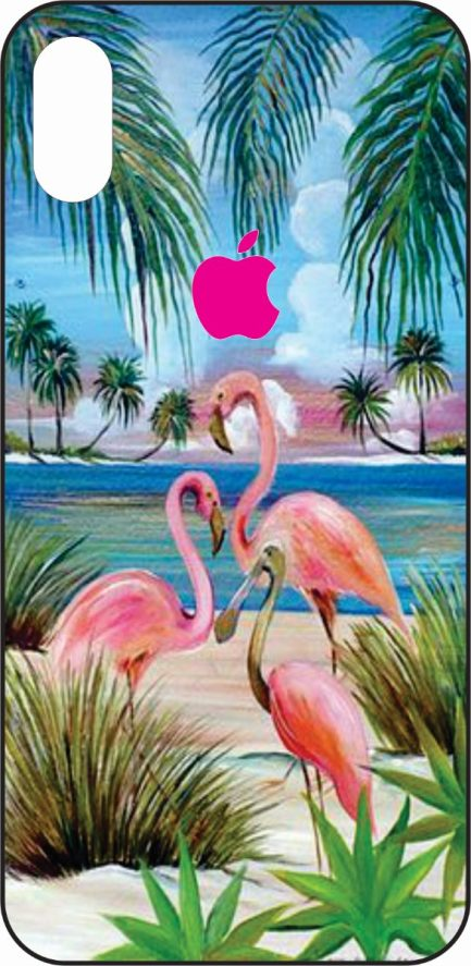 iPhone X Flamingos on a Beach-0