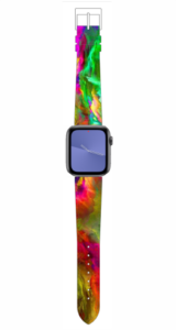Custom Apple WATCH Band Green Red and Yellow Marble Design 38mm